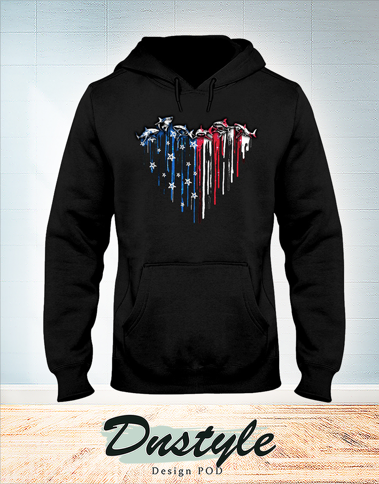 Shark heart american flag independence day hoodie