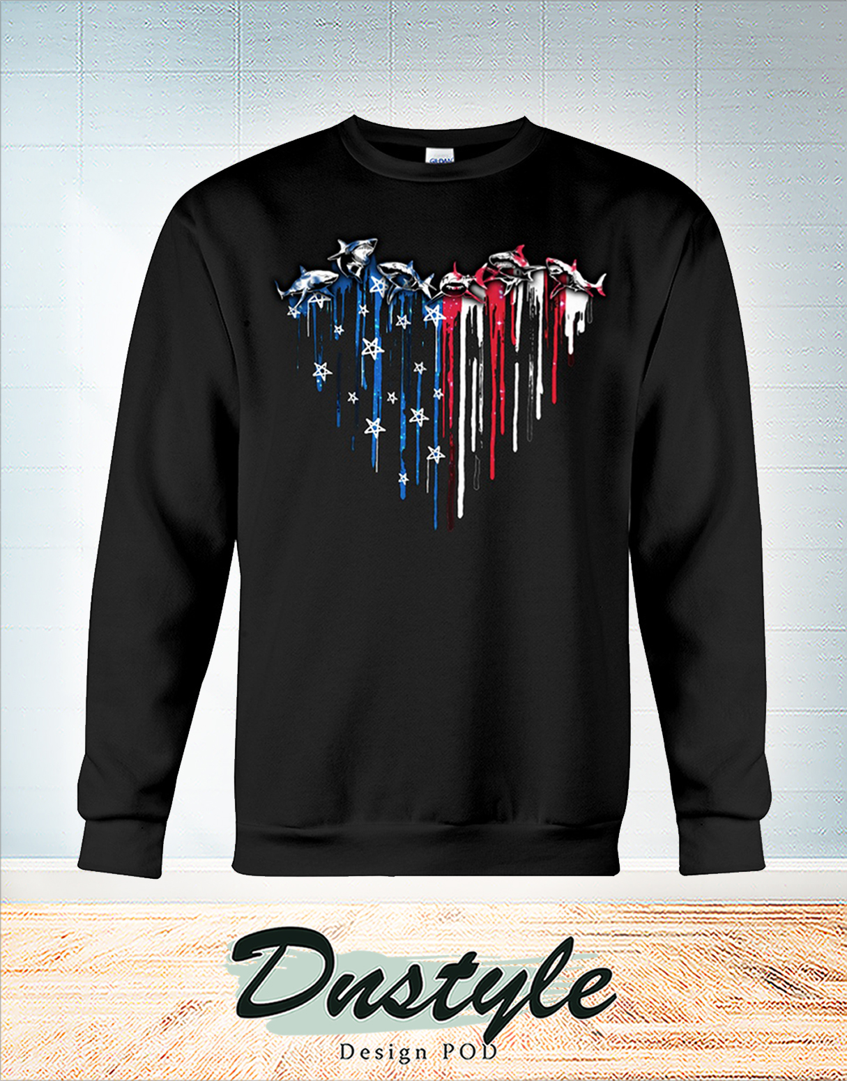 Shark heart american flag independence day sweatshirt
