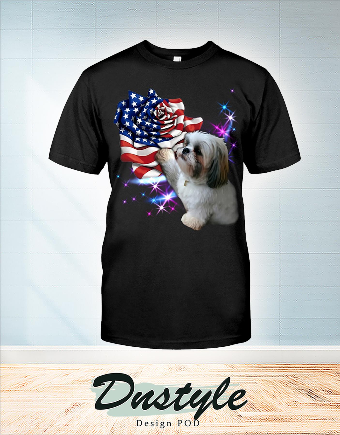 Shih tzu heart rose american flag 4th of July shirt