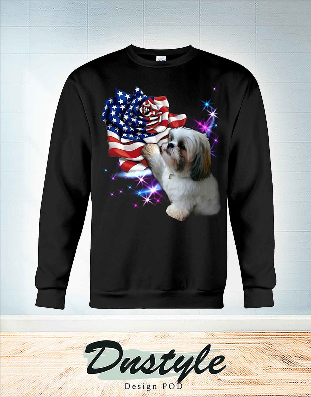Shih tzu heart rose american flag 4th of July sweatshirt