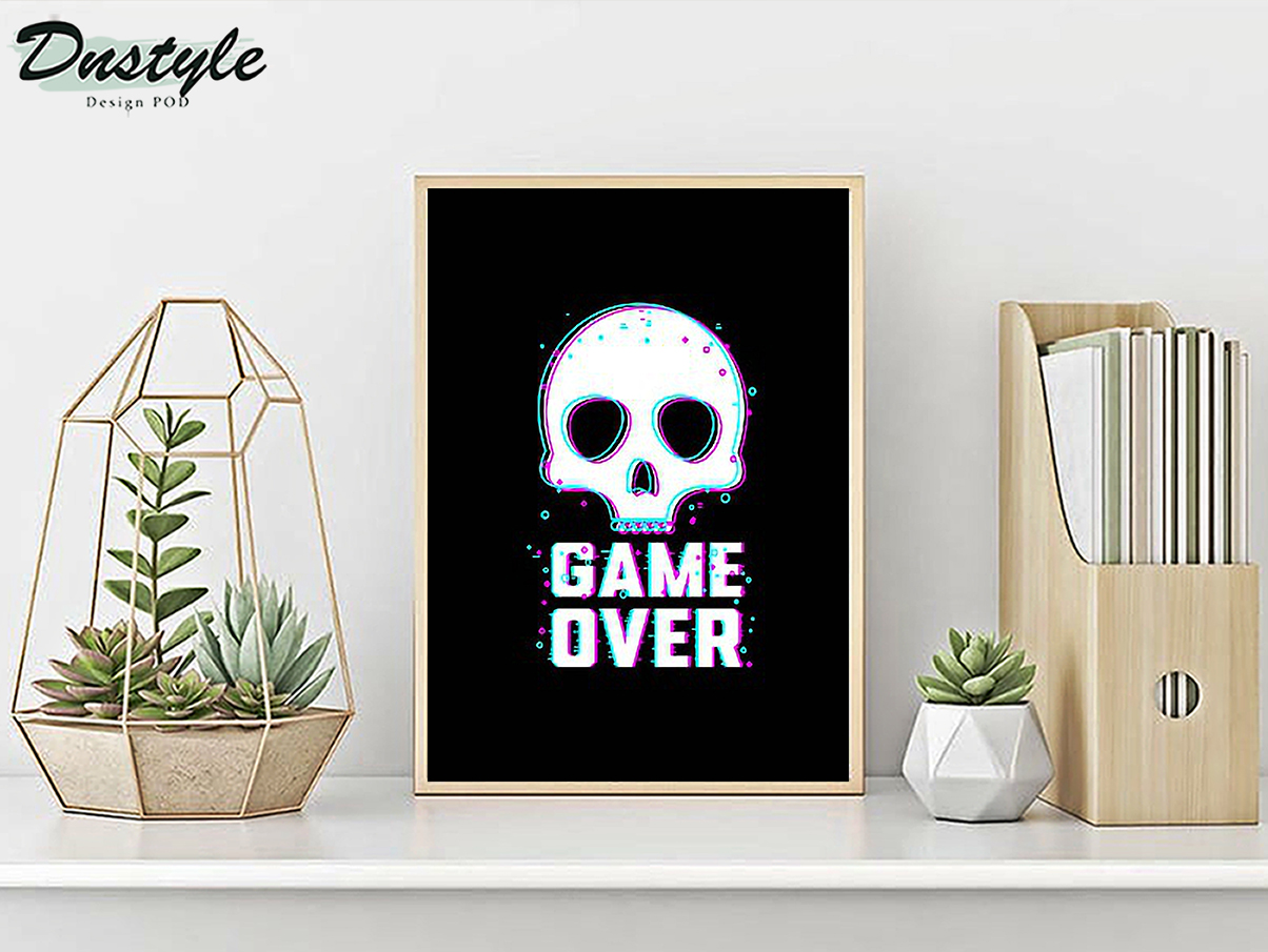 Skull game over poster A2