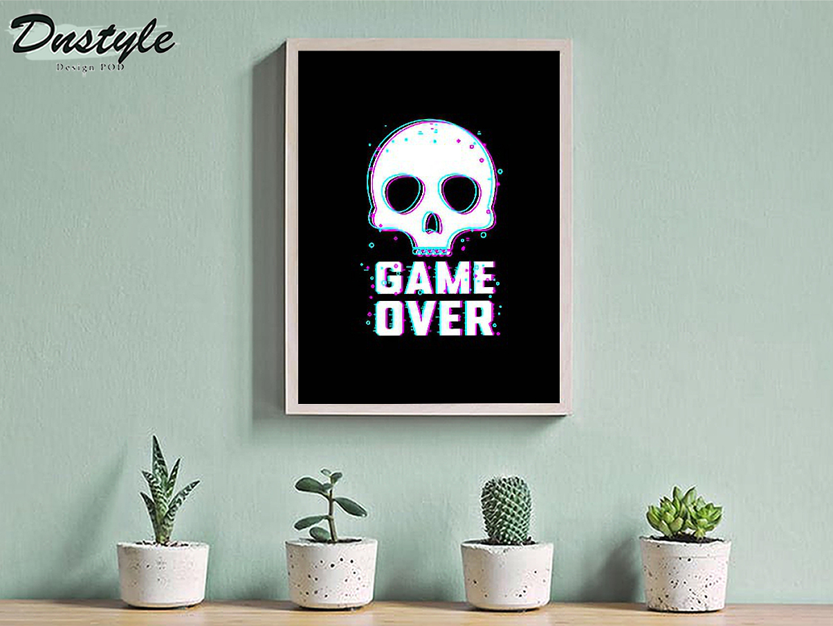 Skull game over poster A3
