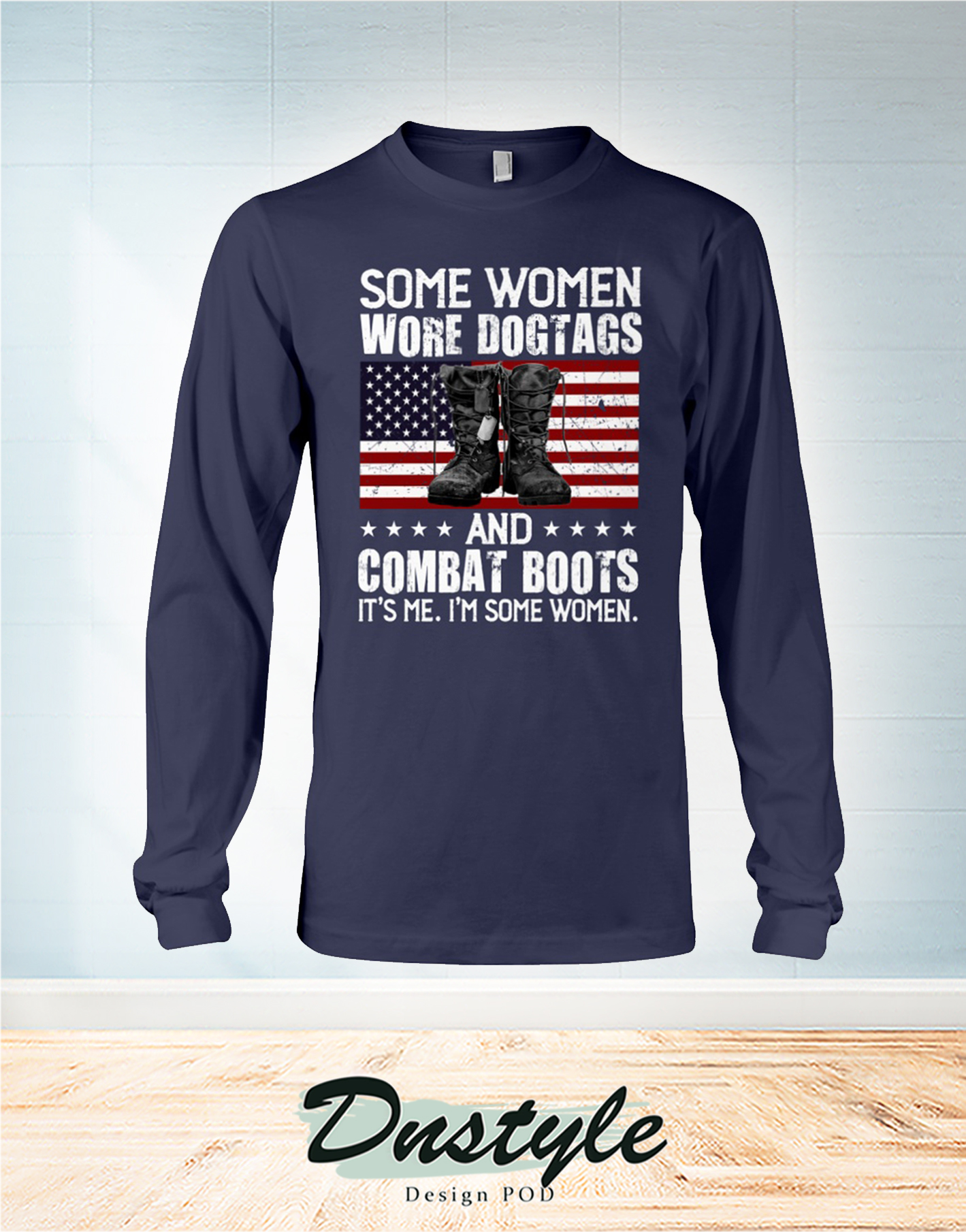 Some woman wore dogtags and combat boots 4th of july long sleeve