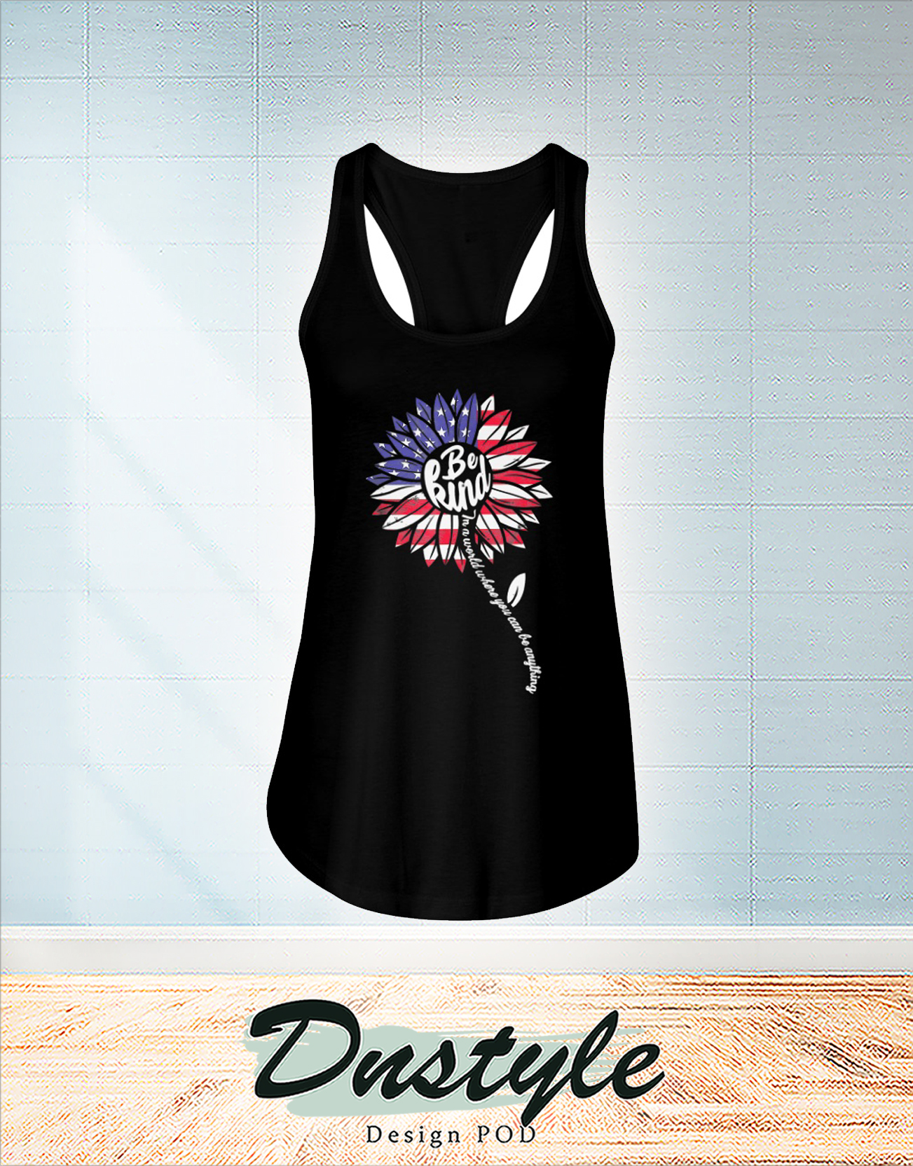 Sunflower be kind american flag 4th of July flowy tank
