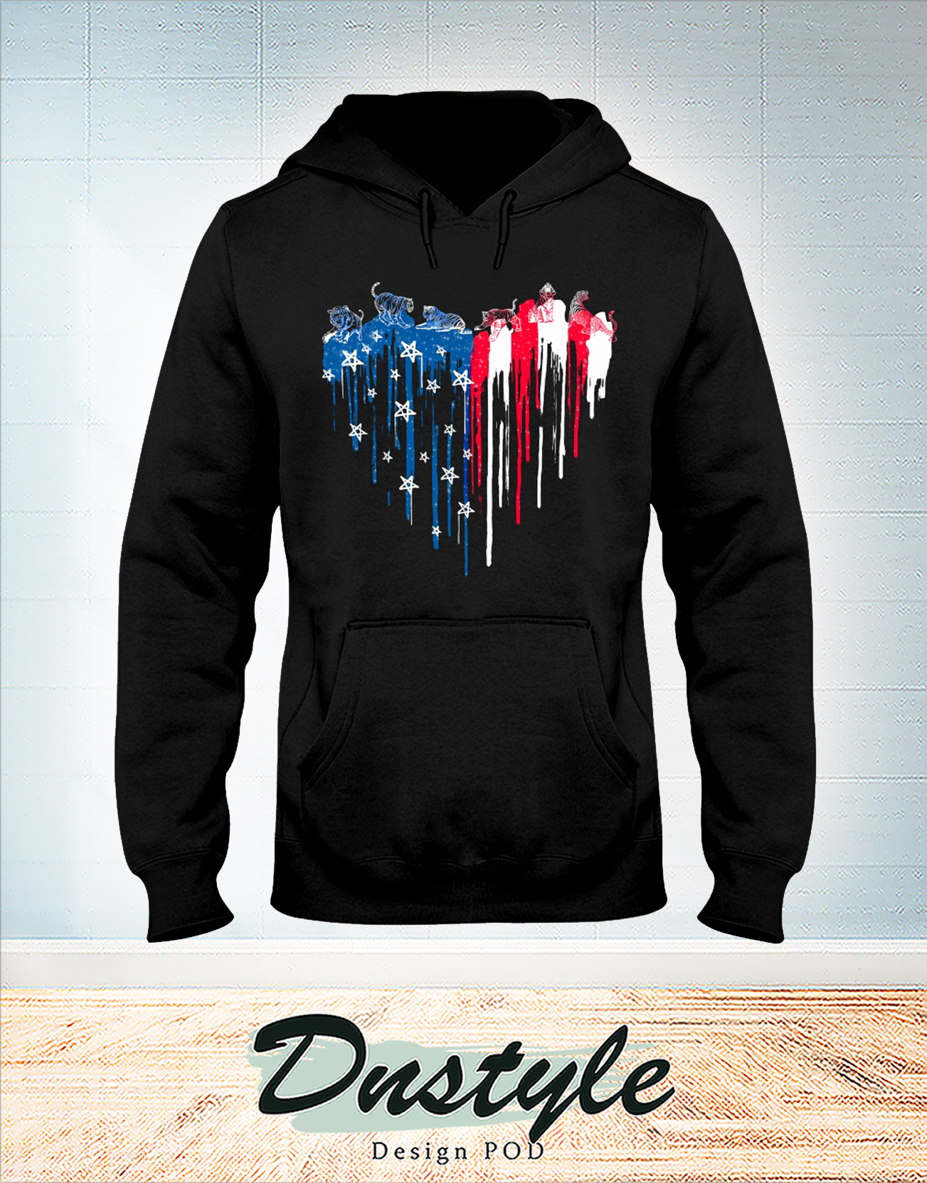 Tiger freedom heart color american flag 4th of july hoodie