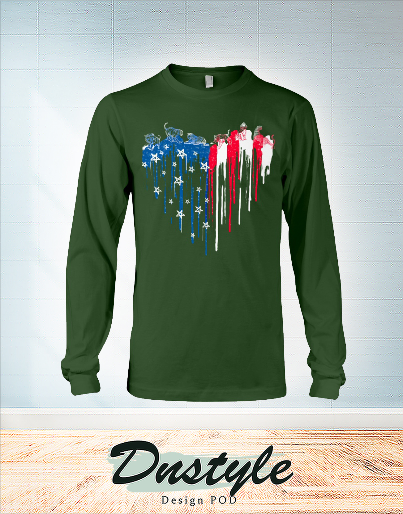 Tiger freedom heart color american flag 4th of july long sleeve