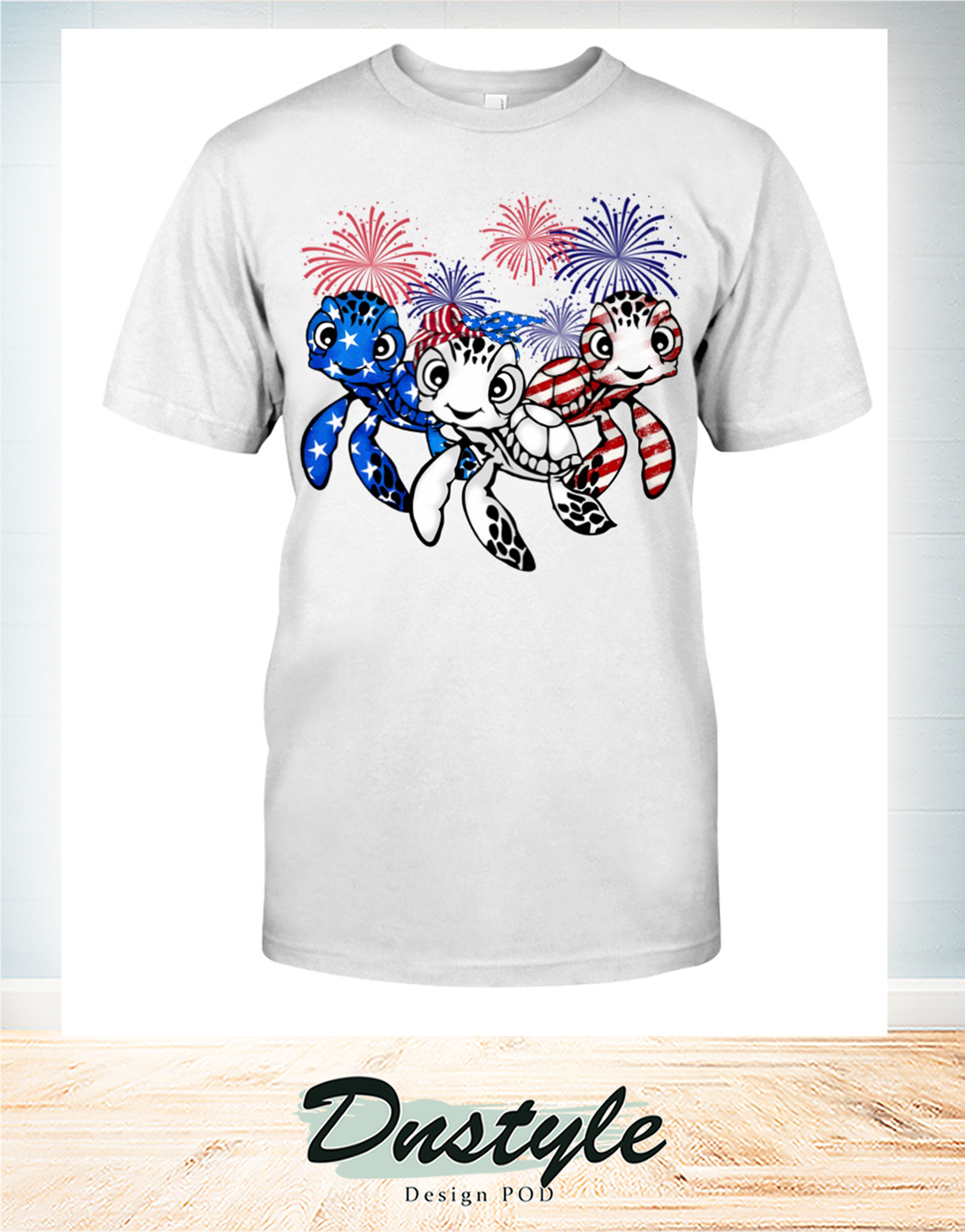 Turtle flag colors 4th of july t-shirt