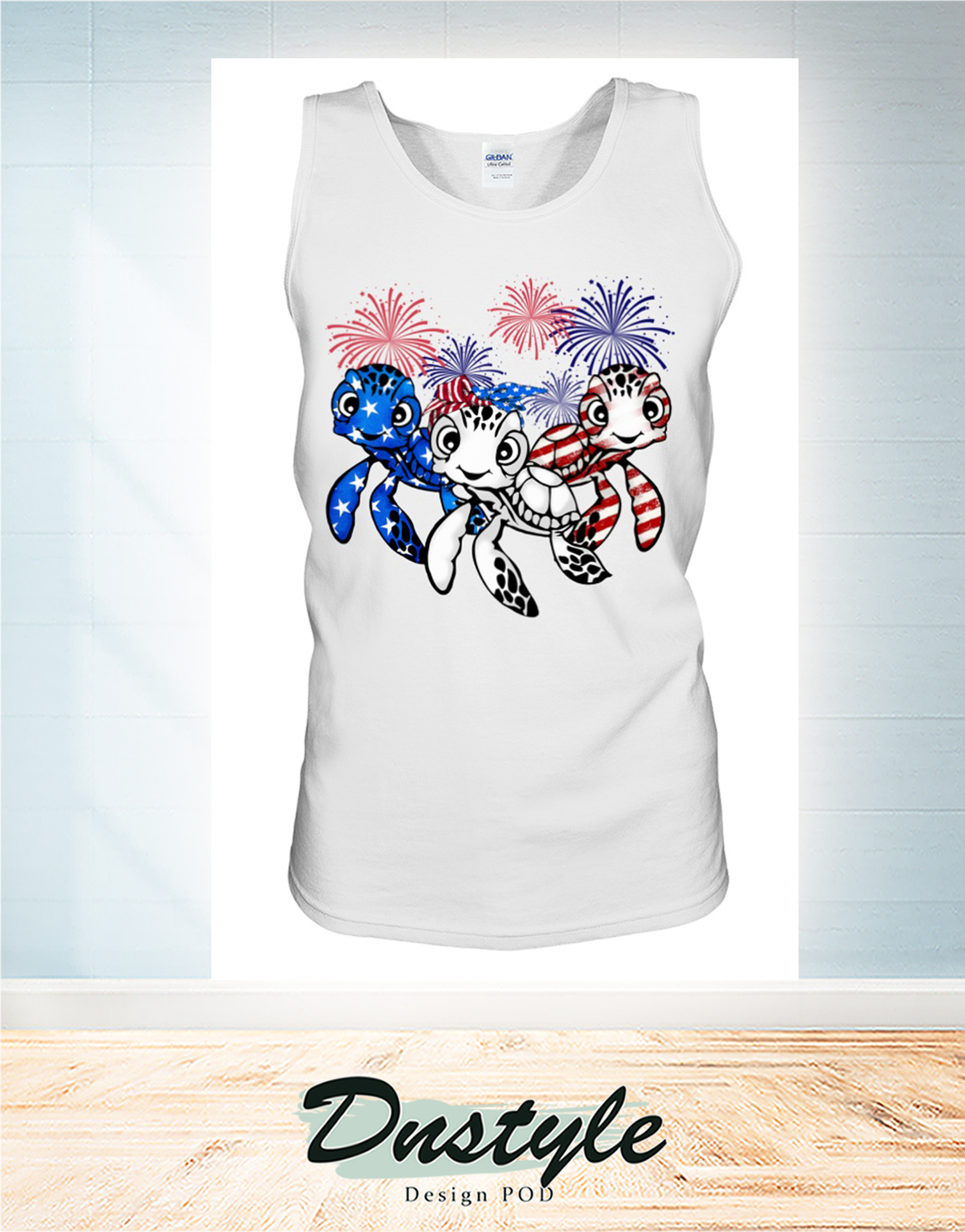 Turtle flag colors 4th of july tank