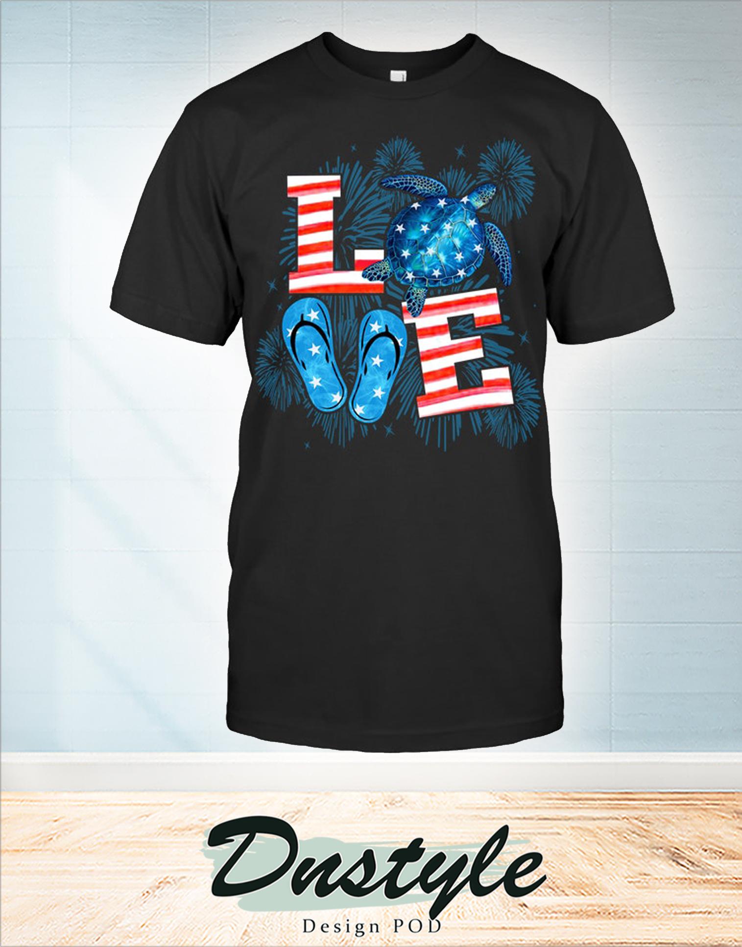 Turtle love sea flip flop 4th of july t-shirt