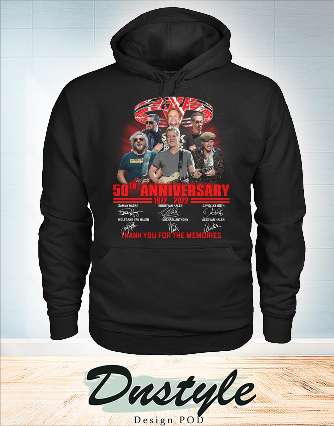 Van Halen 50th 1972 2022 anniversary thanks you for the memories hoodie