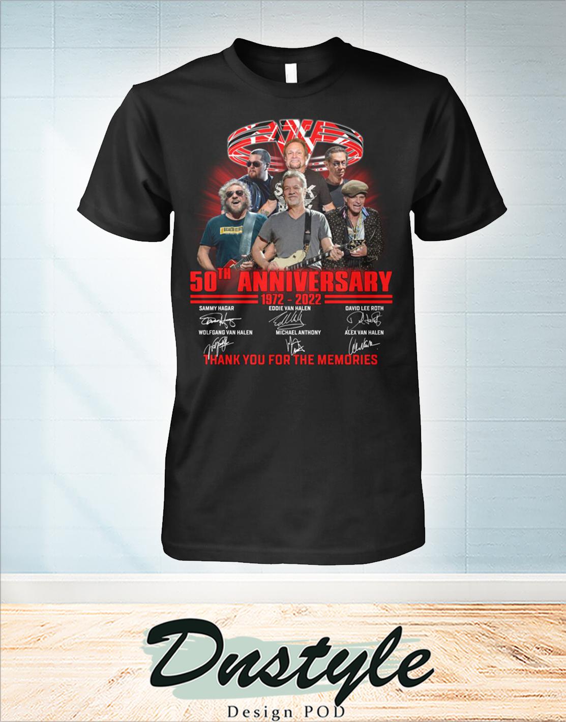 Van Halen 50th 1972 2022 anniversary thanks you for the memories shirt