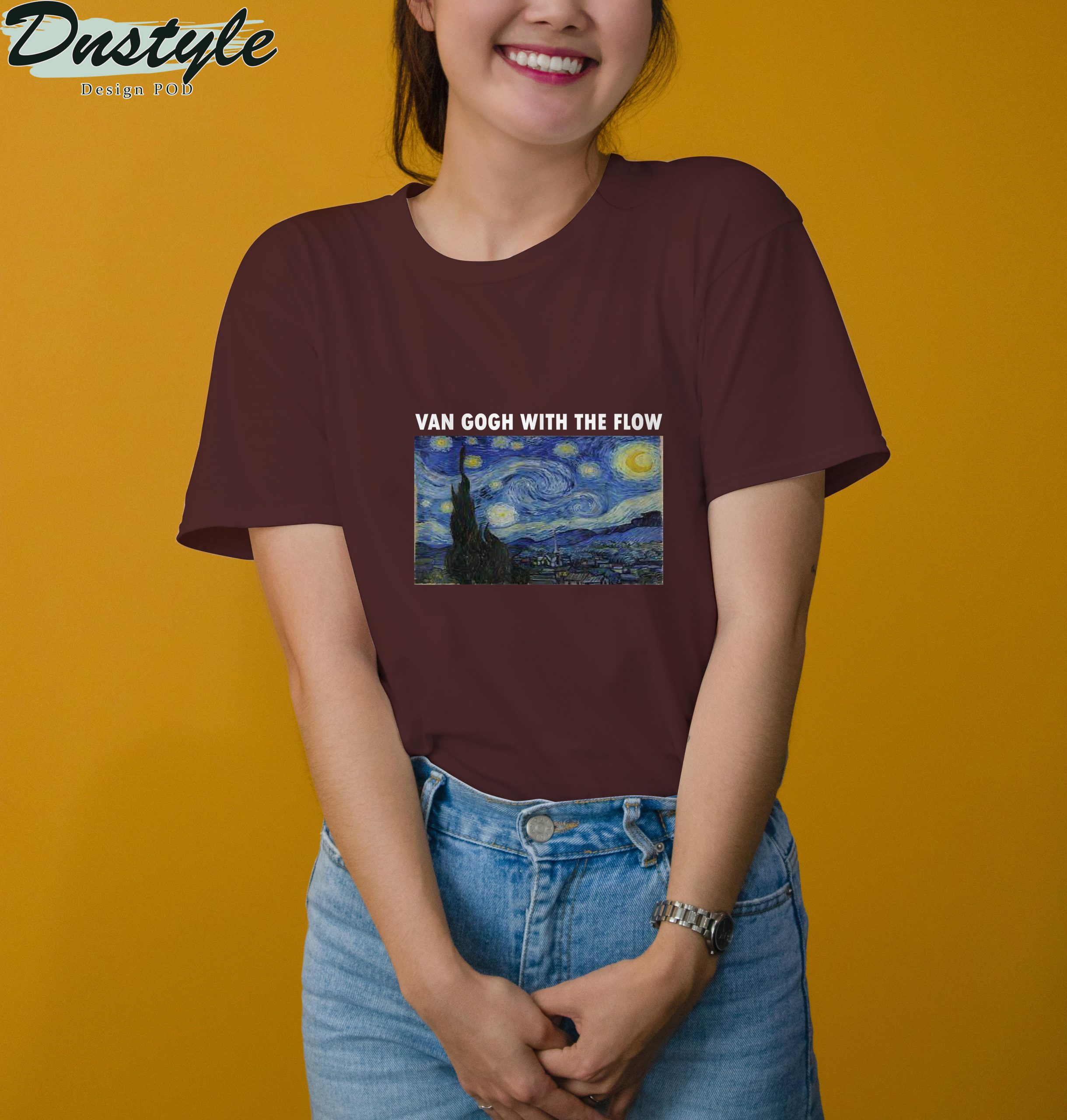 Van gogh with the flow t-shirt 3