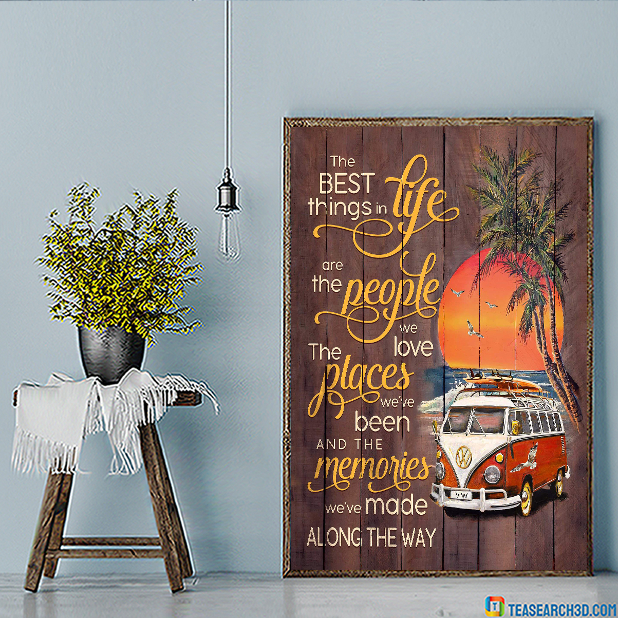 Volkswagen camper the best things in life beach canvas small