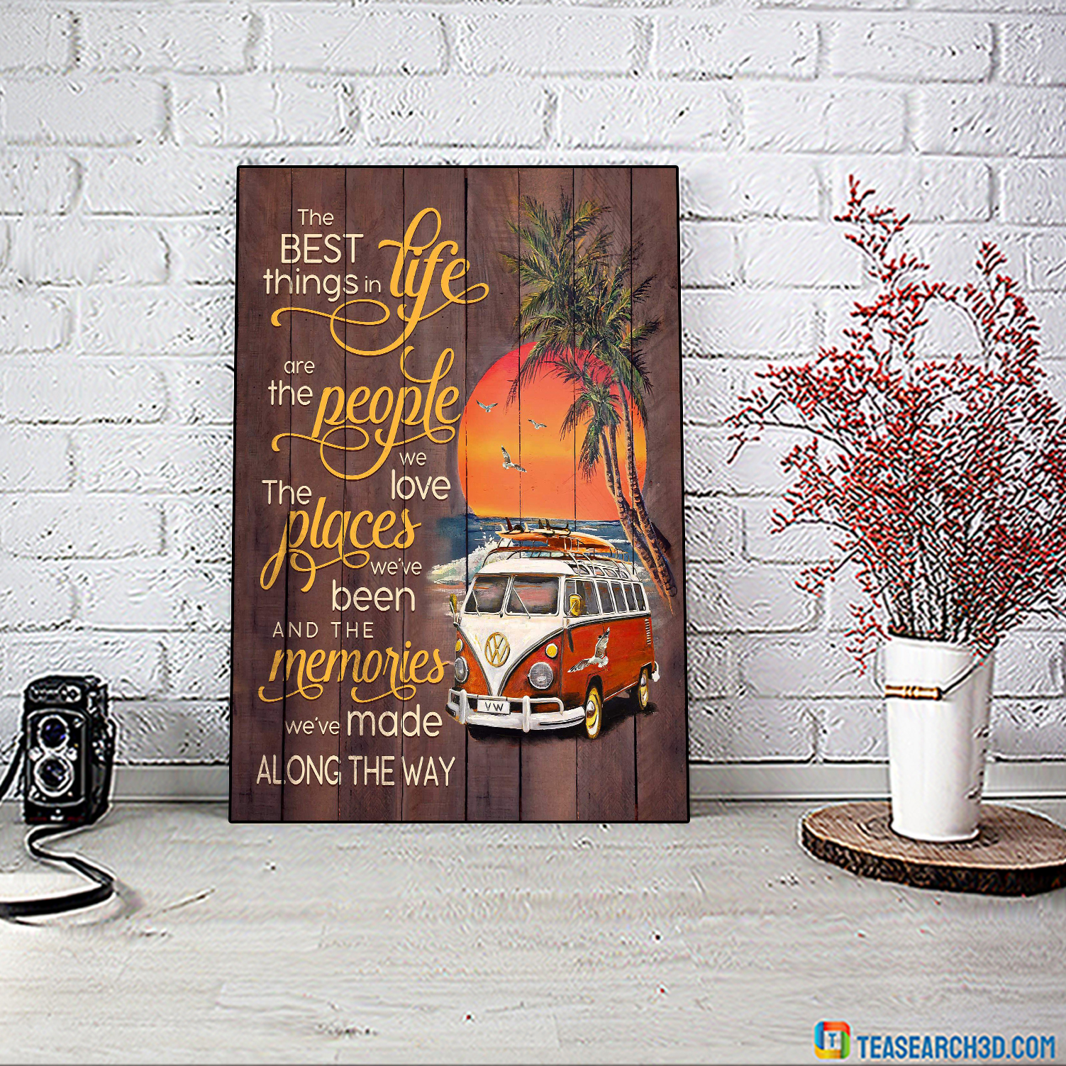 Volkswagen camper the best things in life beach canvas