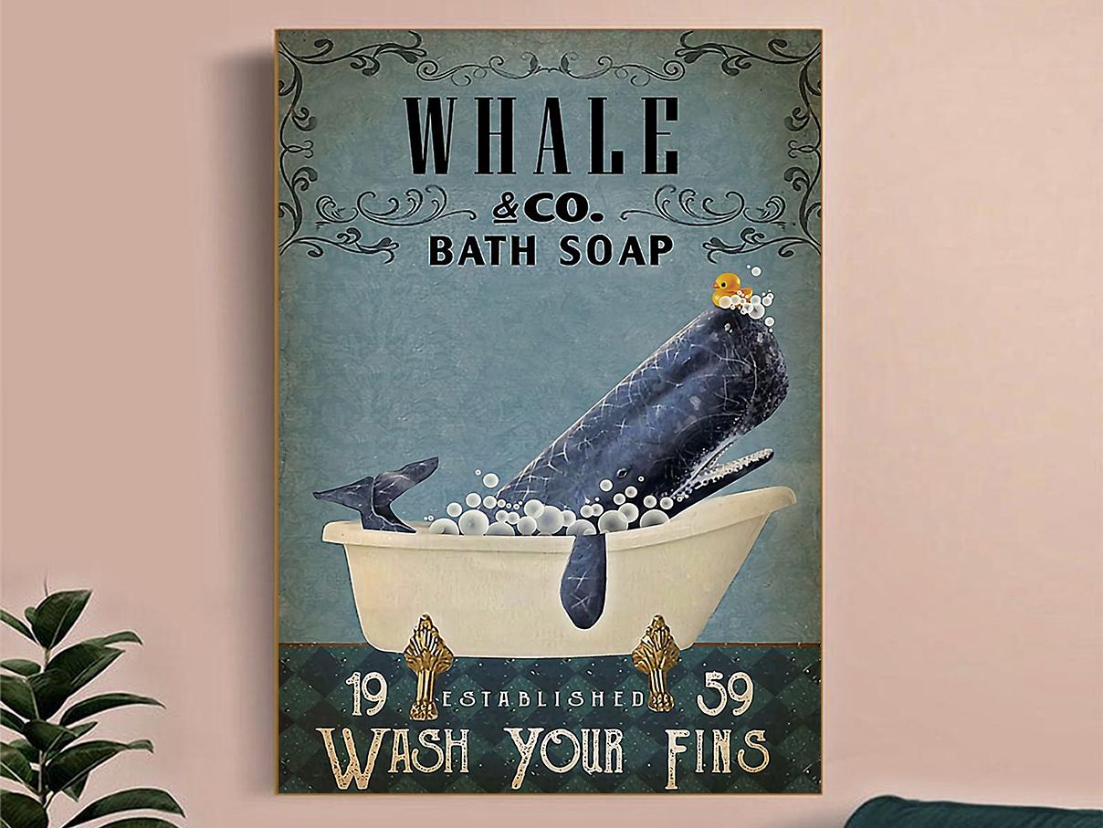 Whale co bath soap wash your fins poster A3