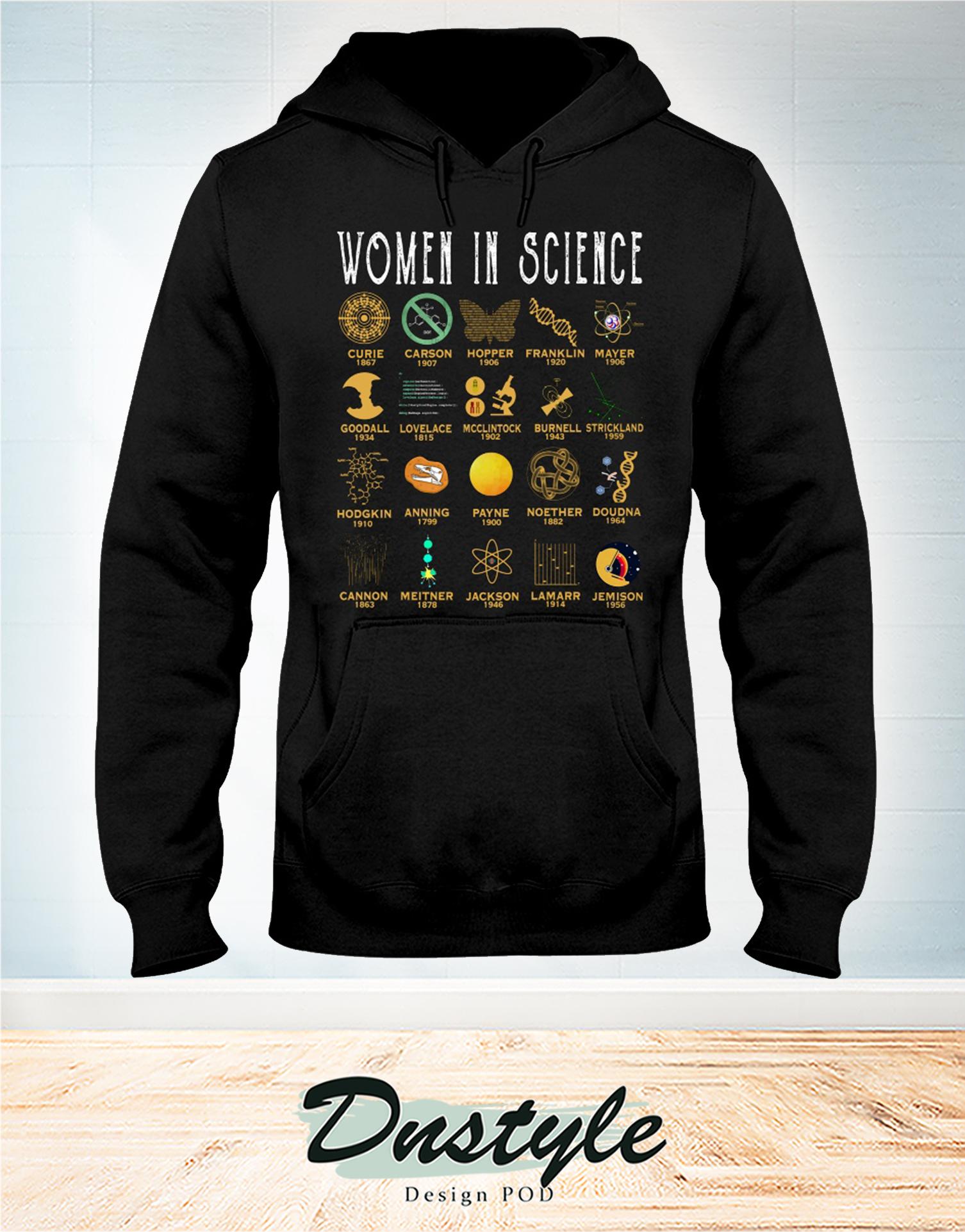 Women in science curie carson hopper frankin mayer hoodie
