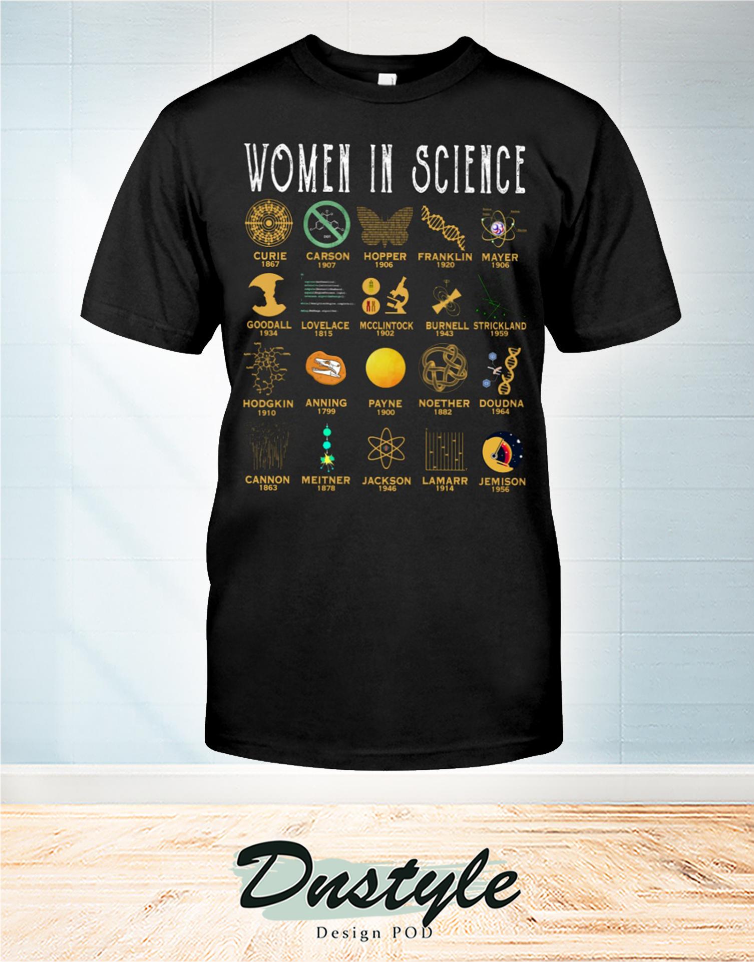 Women in science curie carson hopper frankin mayer t-shirt