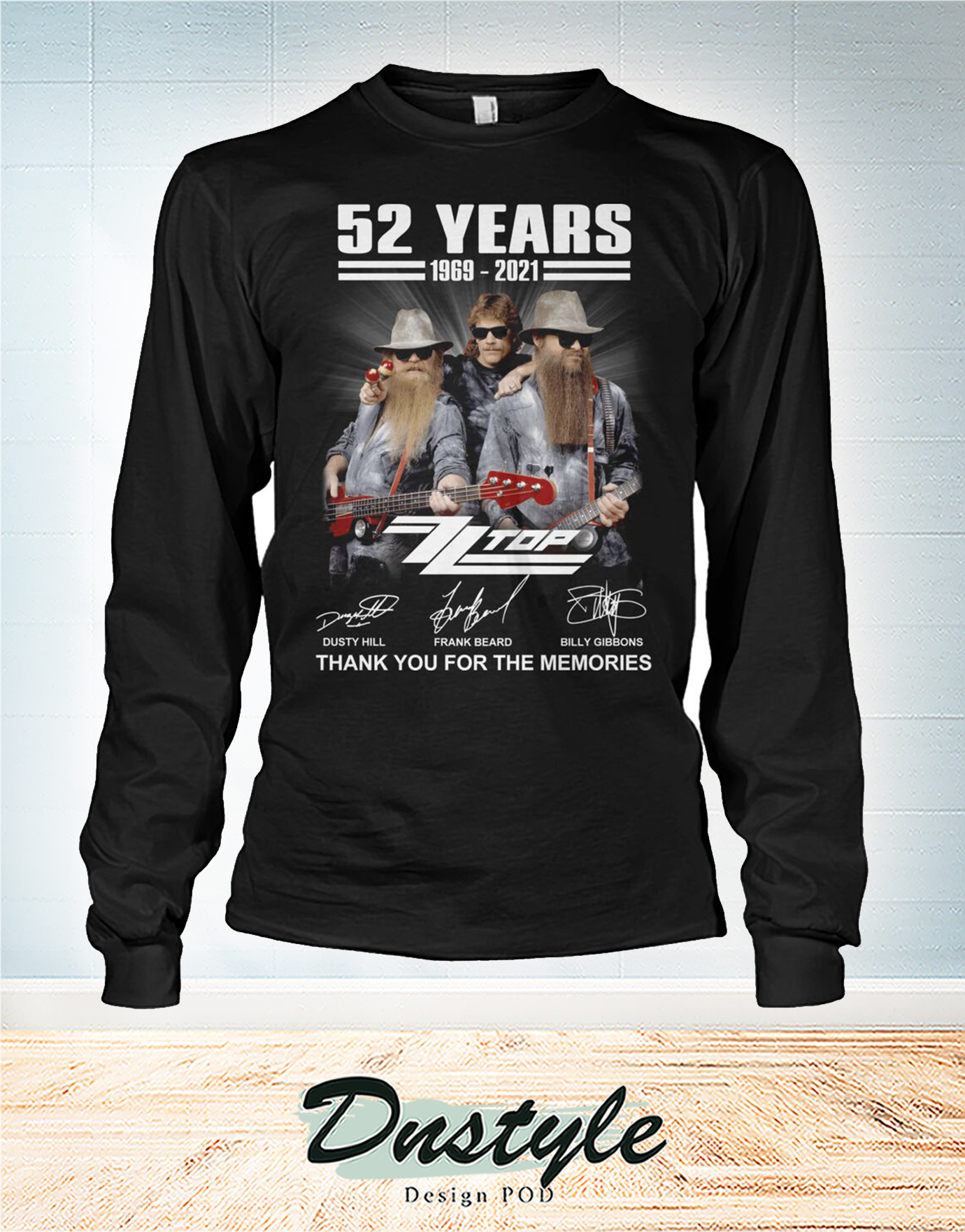 ZZ Top 52 year 1969 1921 thank you for the memories long sleeve