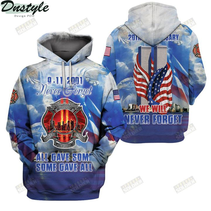 9 11 20th anniversary we will never forget 3d all over printed hoodie