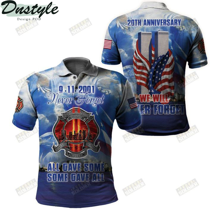 9 11 20th anniversary we will never forget 3d all over printed polo