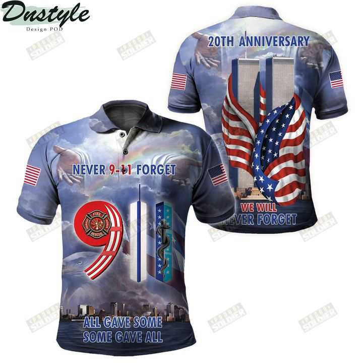 9 11 never forget all gave some some gave all 3d all over printed polo