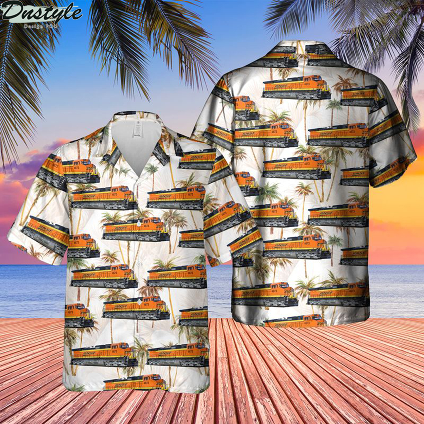 BNSF railway ge dash 9-44cw locomotive hawaiian shirt 2