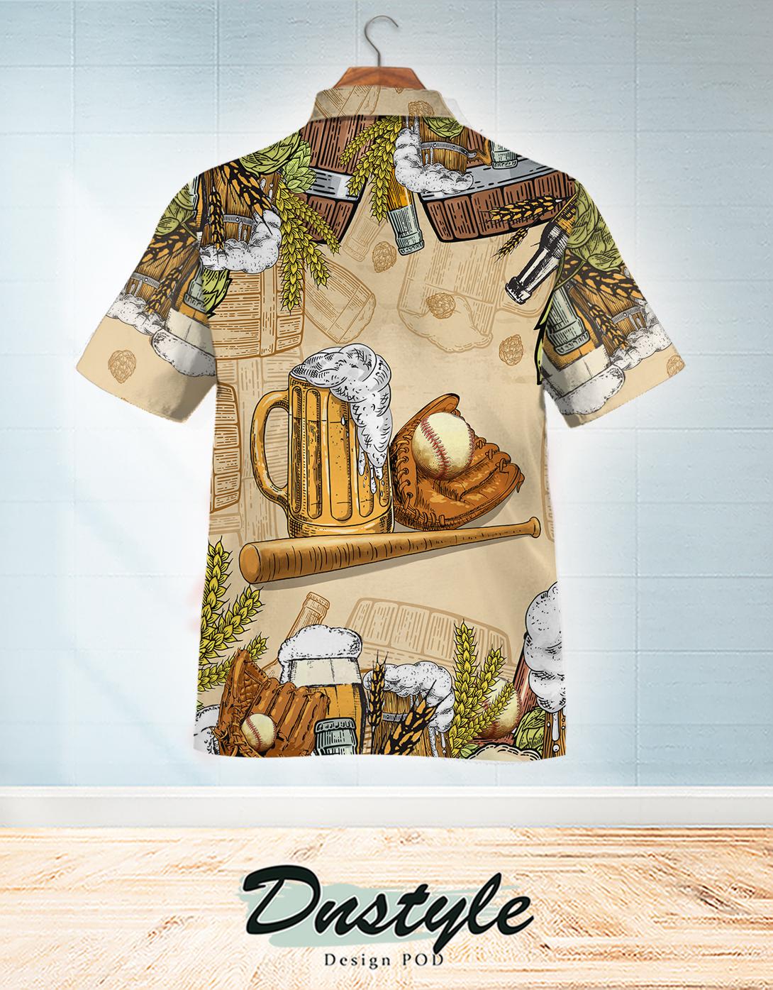 Baseball and beer hawaiian shirt 1
