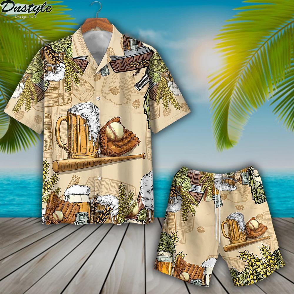 Baseball and beer hawaiian shirt and short
