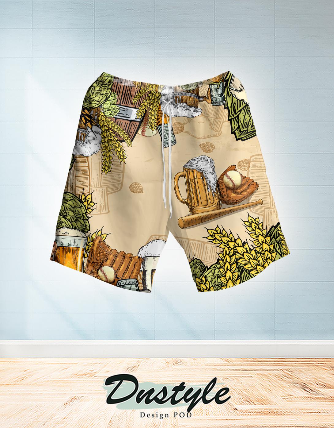 Baseball and beer hawaiian short