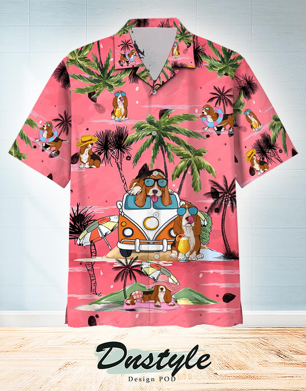 Basset Hound Summer Beach Hawaiian Shirt