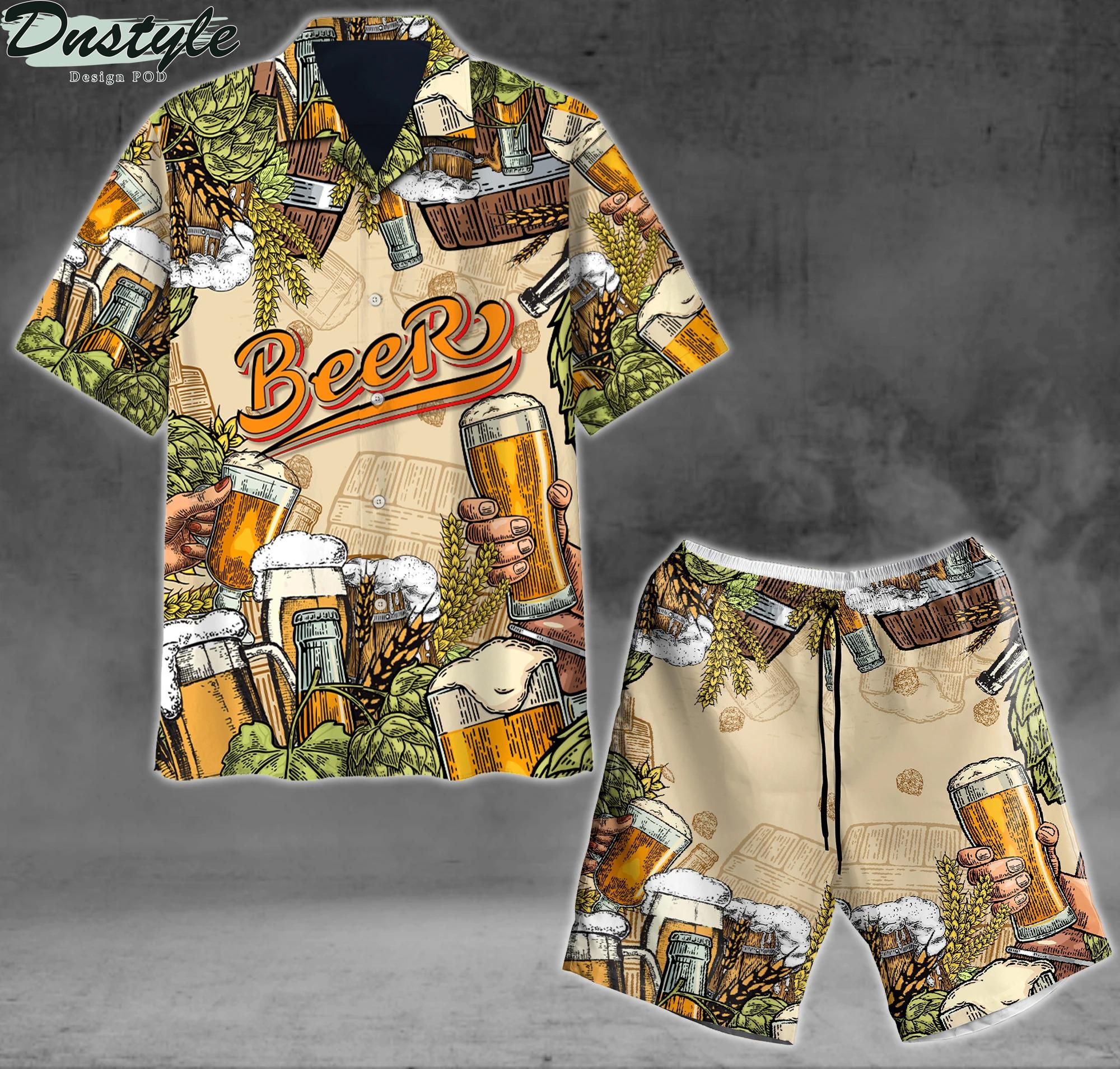 Beer hawaiian shirt and short