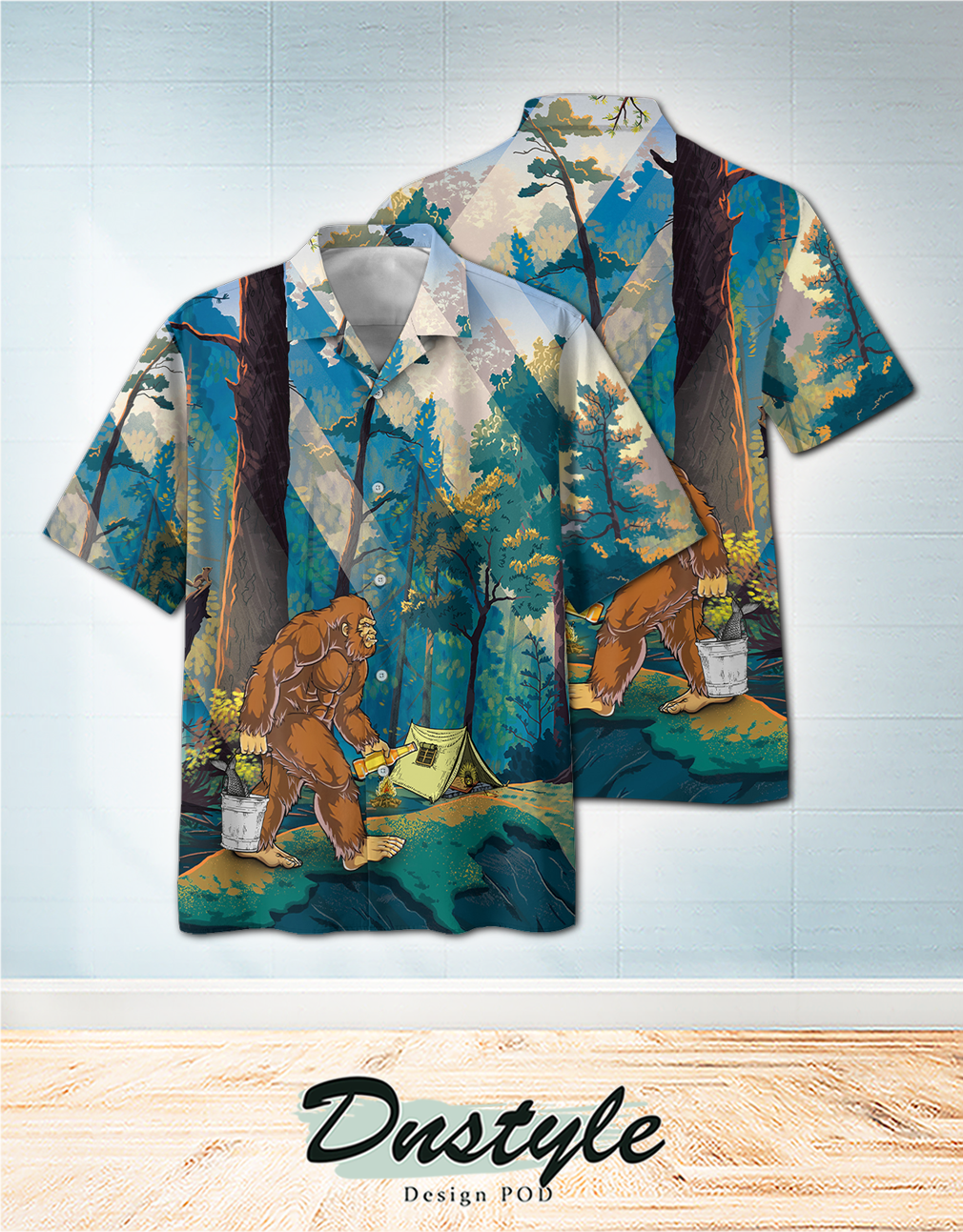 Bigfoot go to camping hawaiian shirt