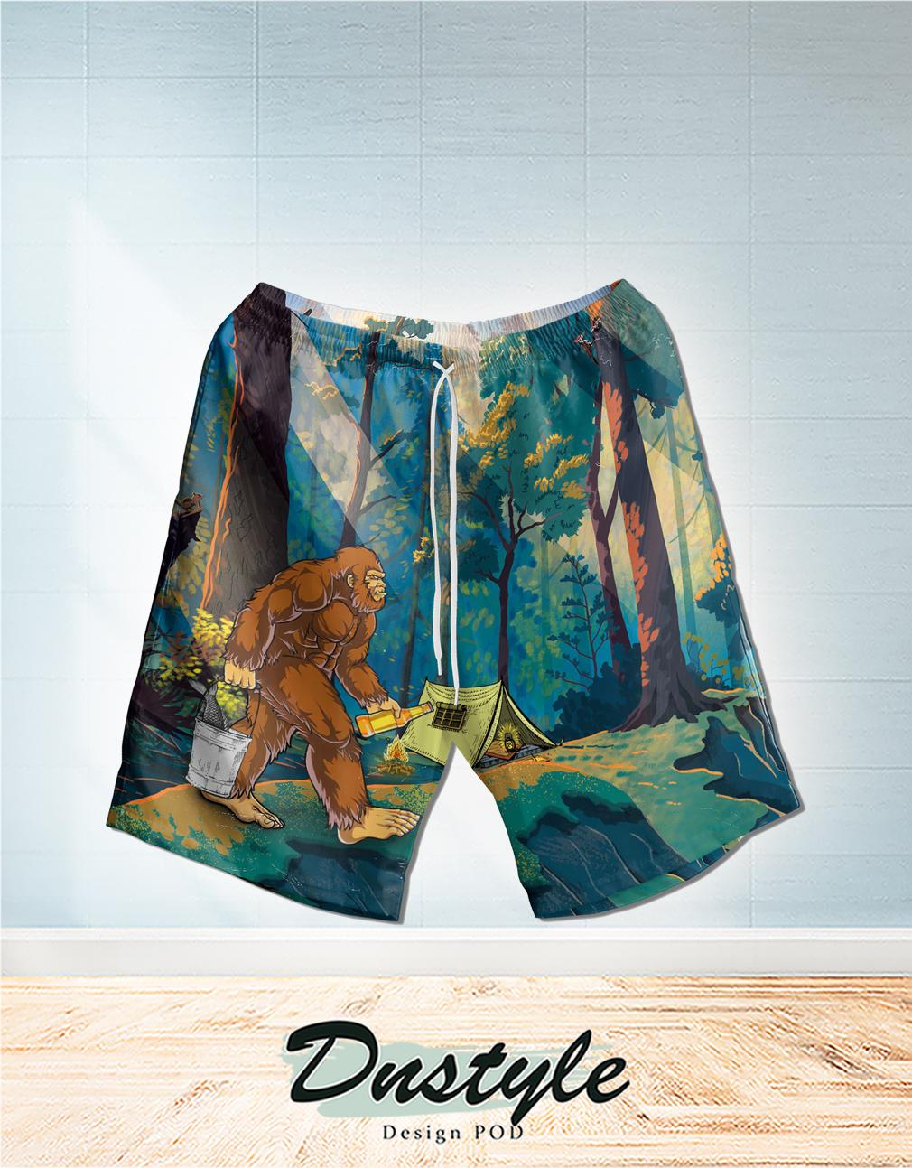 Bigfoot go to camping hawaiian short