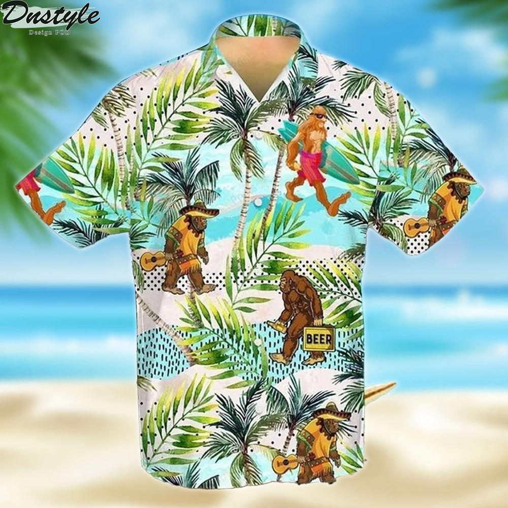 Bigfoot skiing guitar beer hawaiian shirt 1