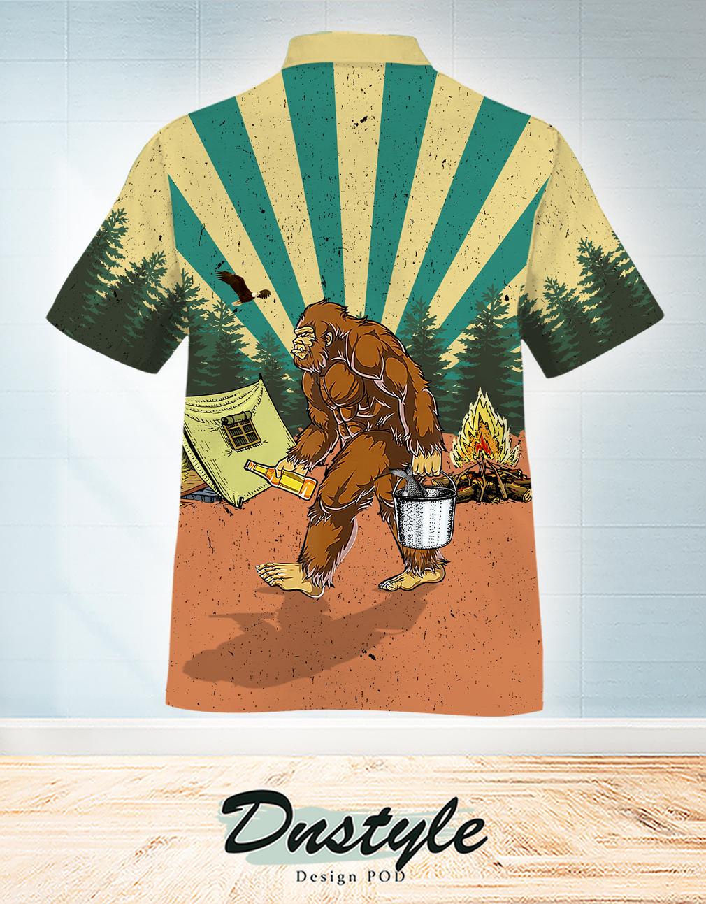 Bigfoot summer camping time hawaiian shirt 1