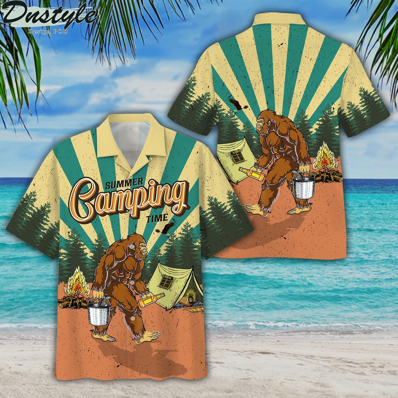 Bigfoot summer camping time hawaiian shirt