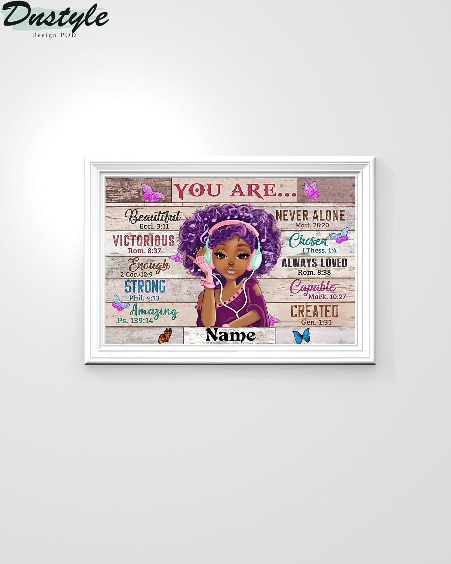 Black Girl You Are Beautiful Black Teenage Horizontal Custom Name Poster 1