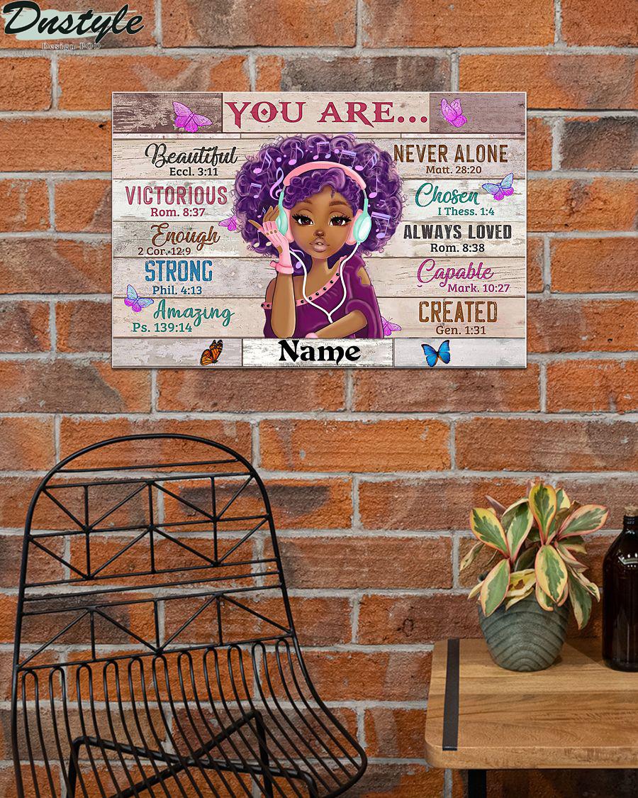 Black Girl You Are Beautiful Black Teenage Horizontal Custom Name Poster 2