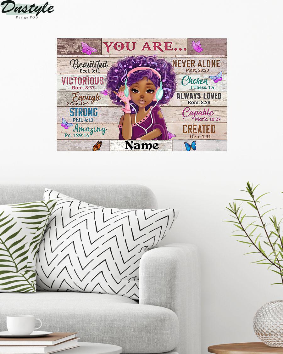 Black Girl You Are Beautiful Black Teenage Horizontal Custom Name Poster