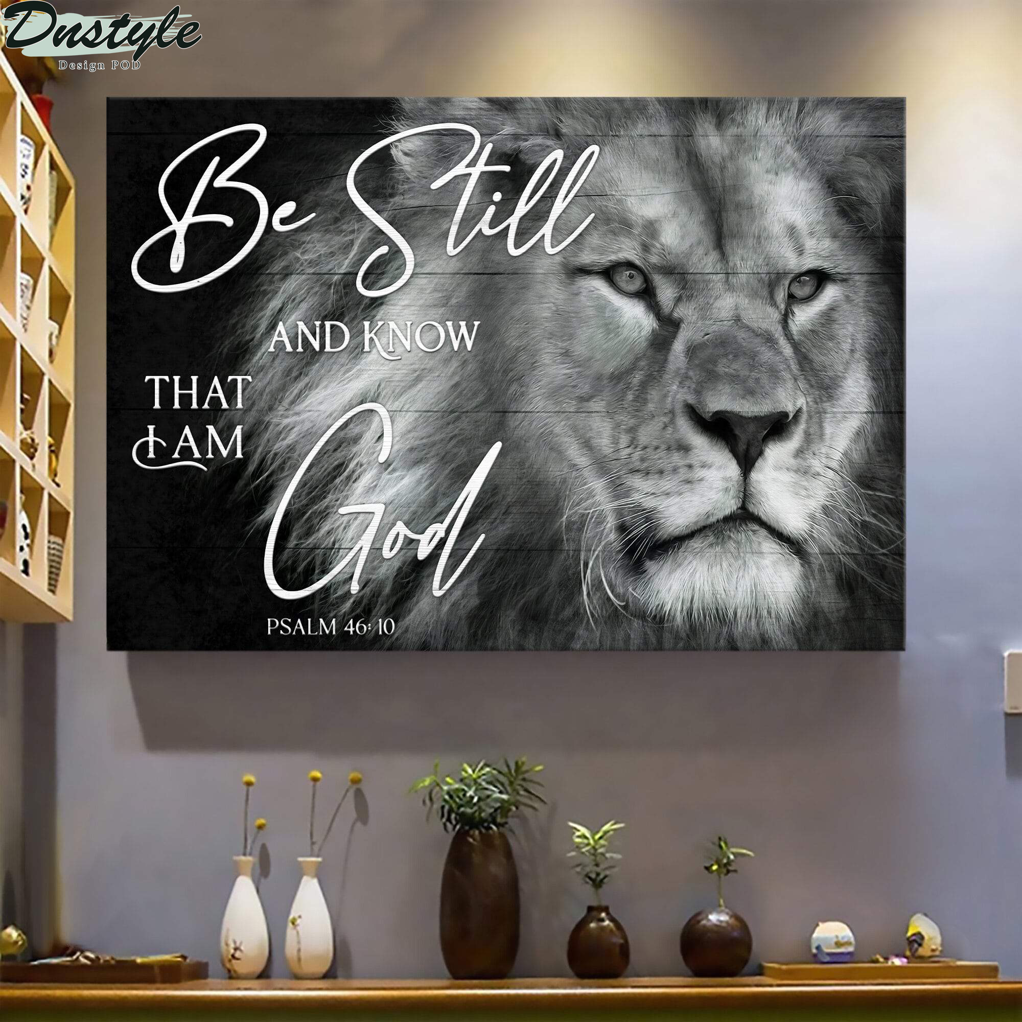 Black and white lion be still and know that I am god jesus canvas