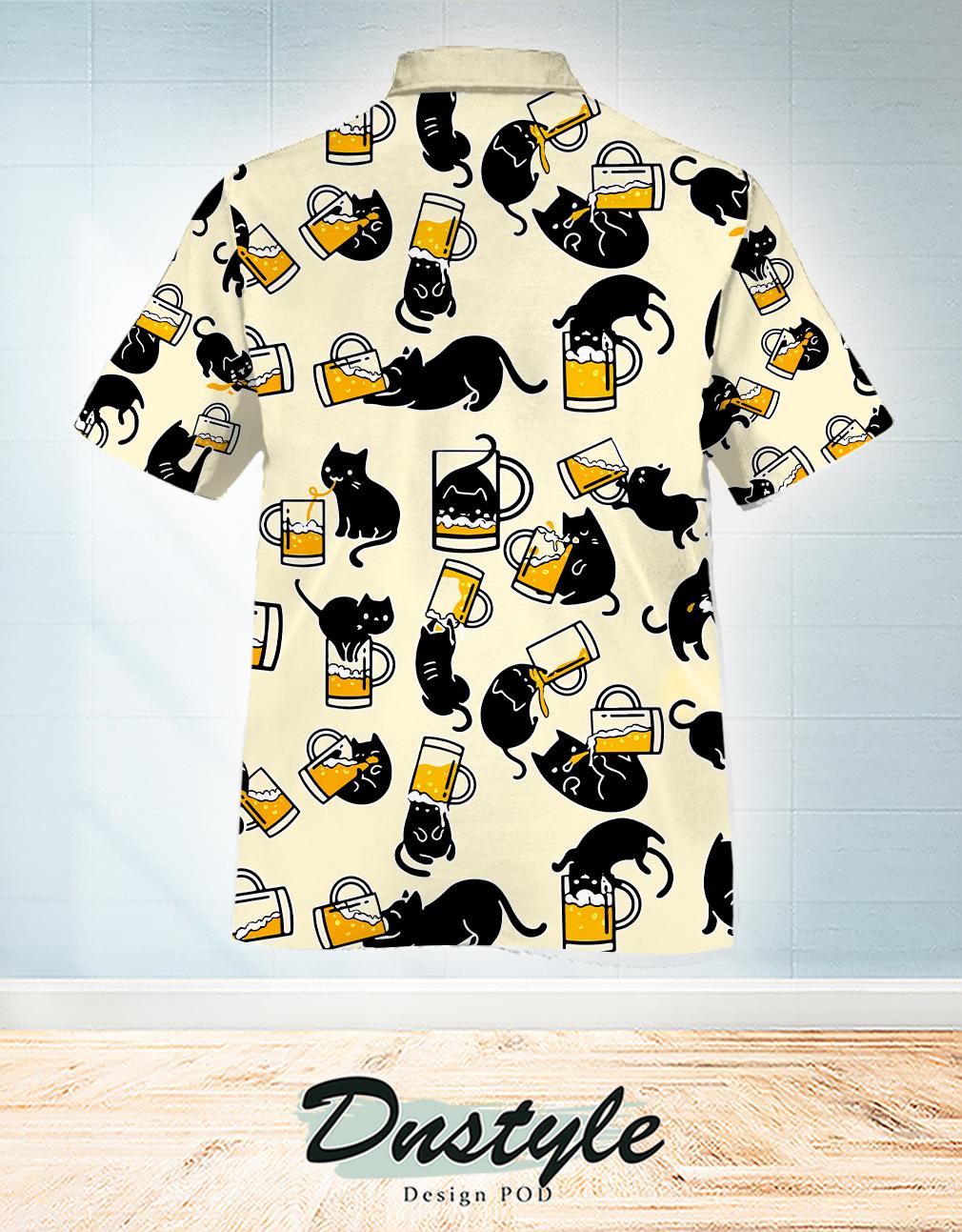 Black cat drink beer in many ways hawaiian shirt 1