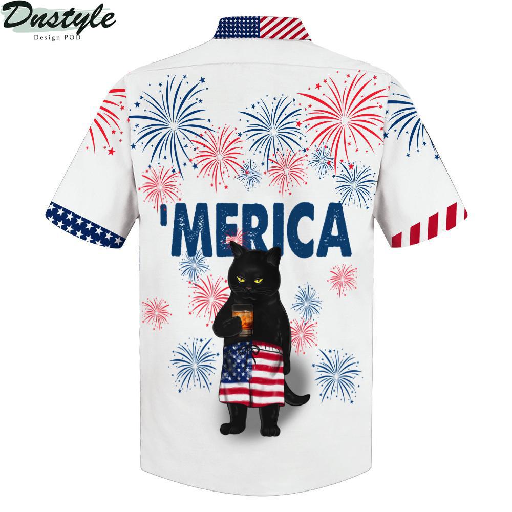 Black cat drink bourbon 'merica american flag hawaiian shirt 1