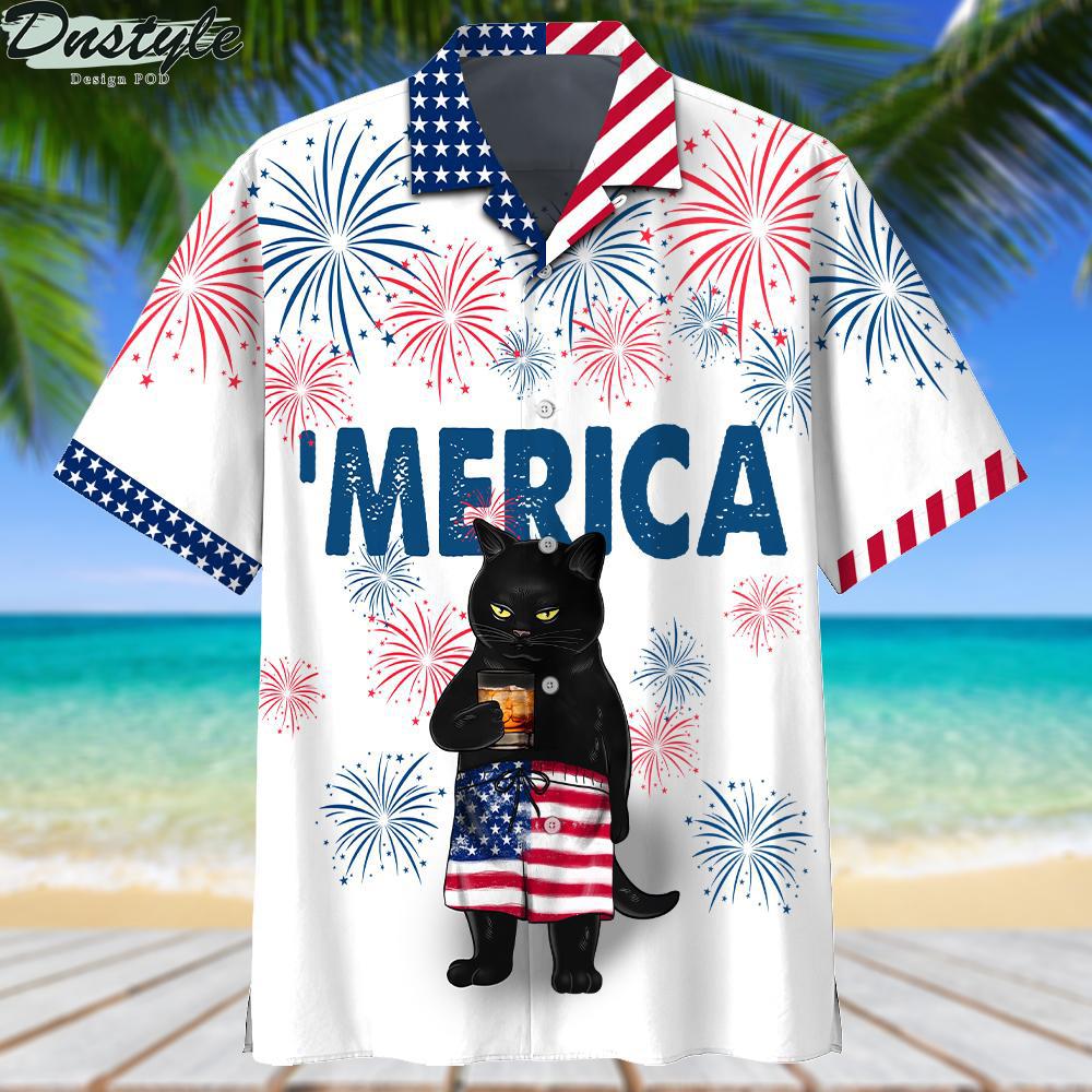 Black cat drink bourbon 'merica american flag hawaiian shirt