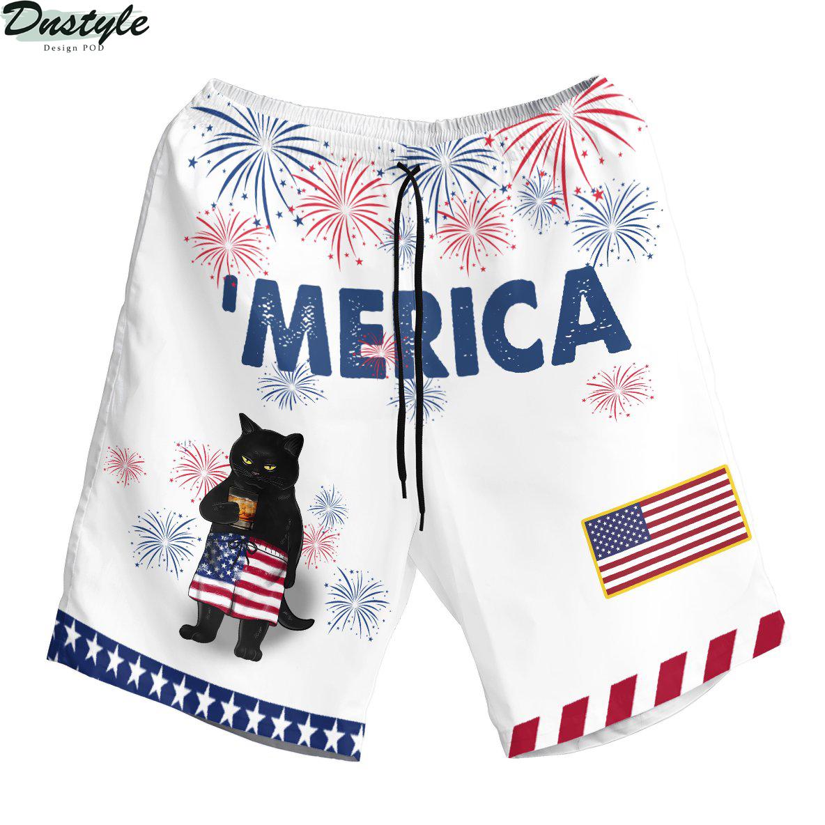 Black cat drink bourbon 'merica american flag hawaiian short