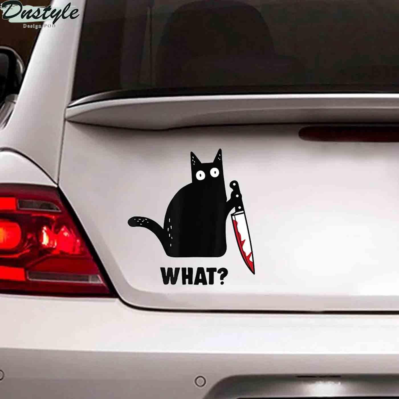 Black cat knife murder car decal sticker 2