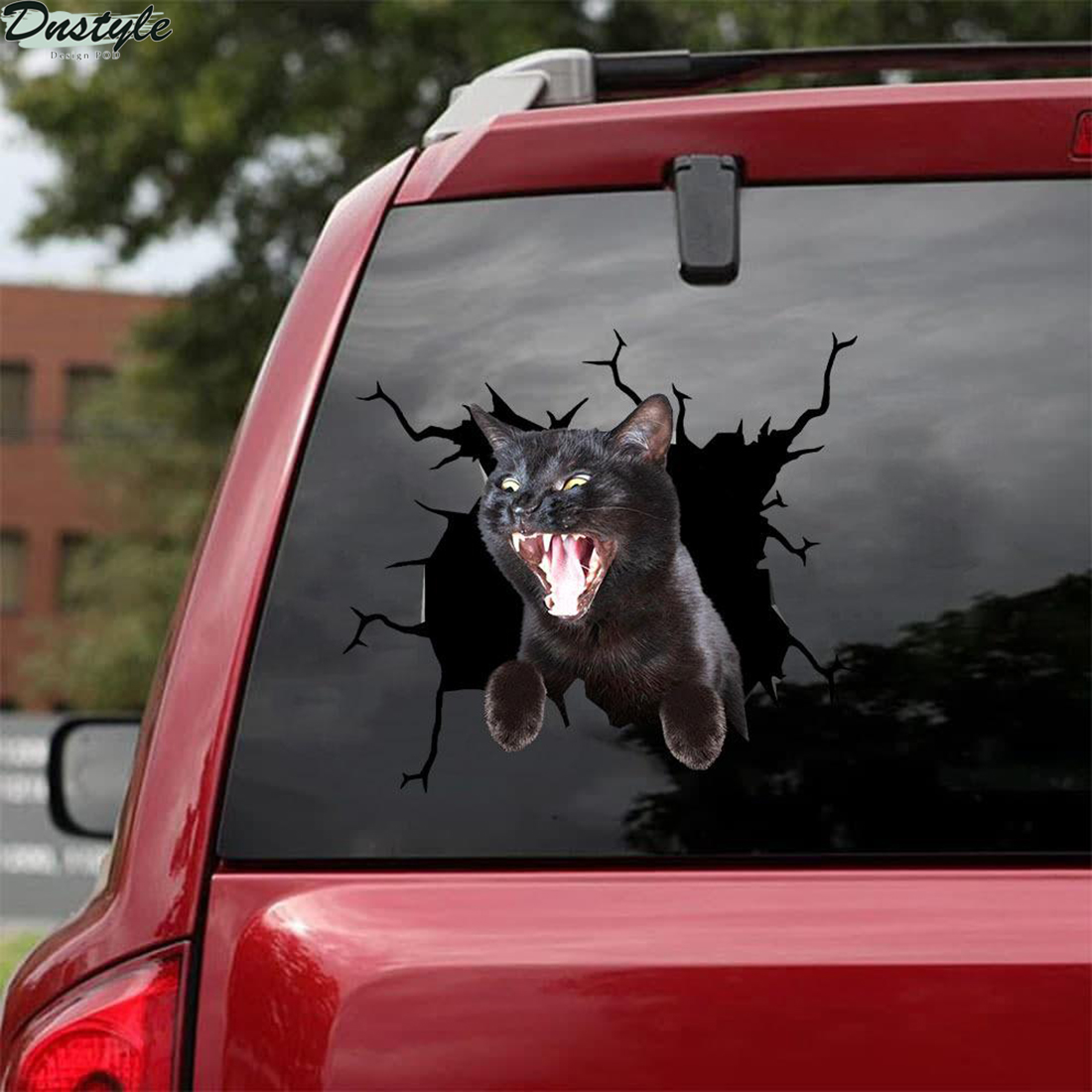 Black cat screaming crack car decal sticker 1