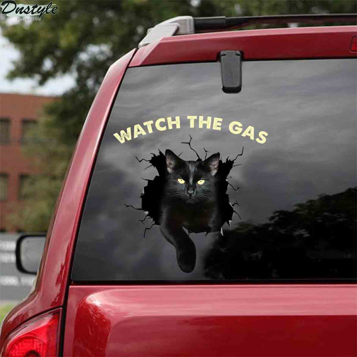 Black cats watch the gas car decal sticker 1