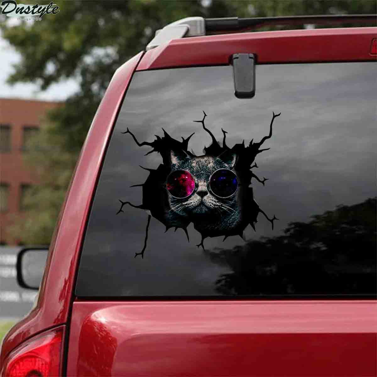 Black cats with glasses car decal sticker 1