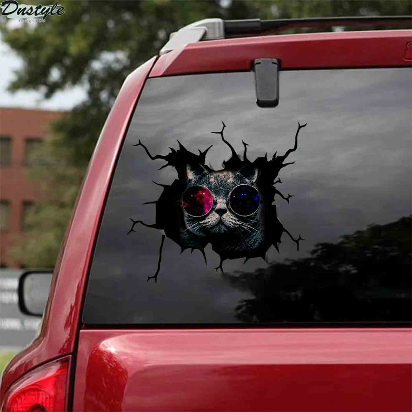 Black cats with glasses car decal sticker 2