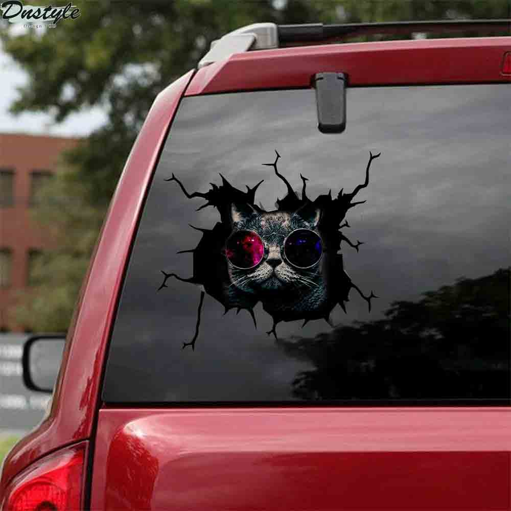 Black cats with glasses car decal sticker